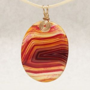 Jewelry - Red Strips Agate Oval Pendant w/Faux Suede Cord